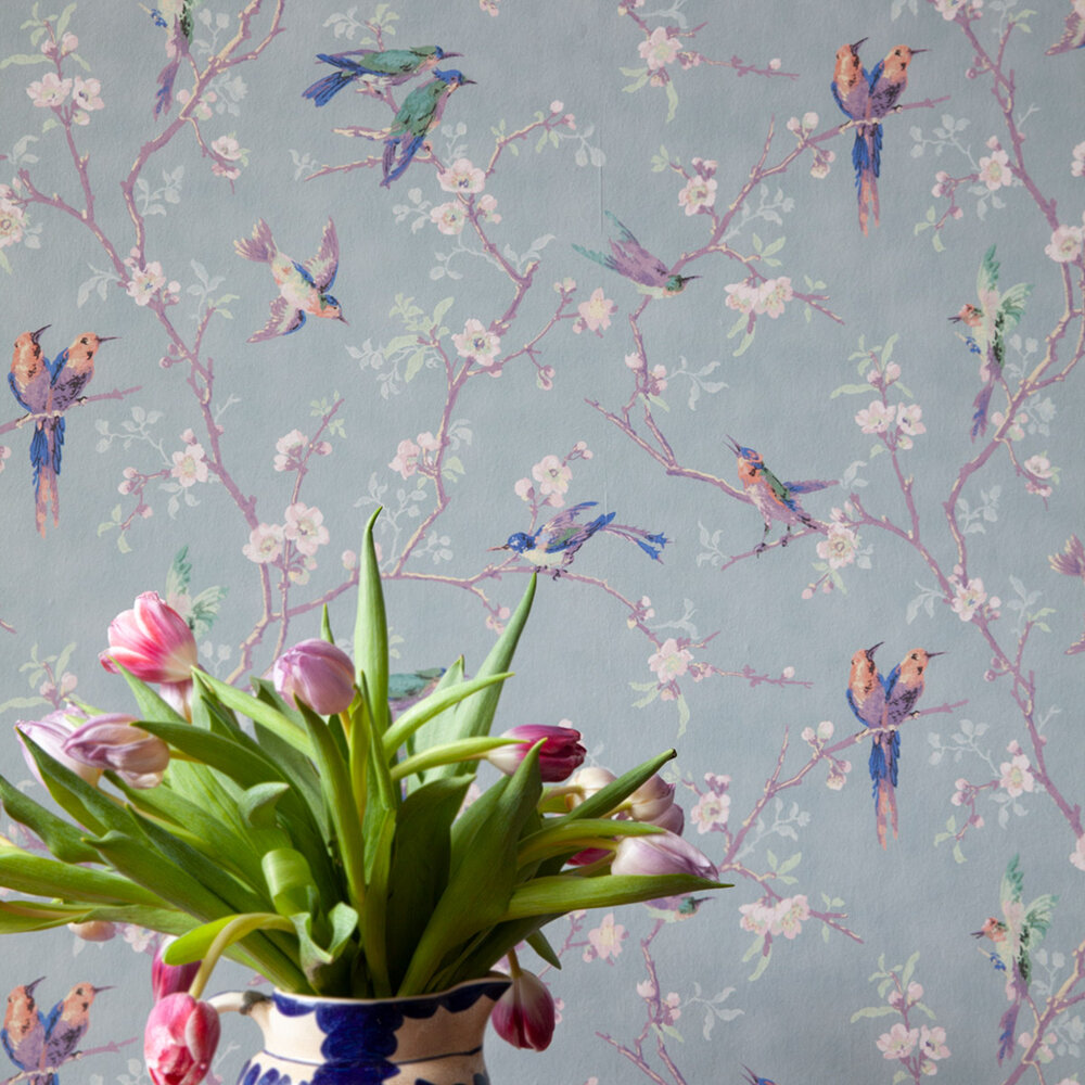Bird and Blossom Wallpaper - Grey Blue / Purple / Burnt Orange - by Hamilton Weston Wallpapers