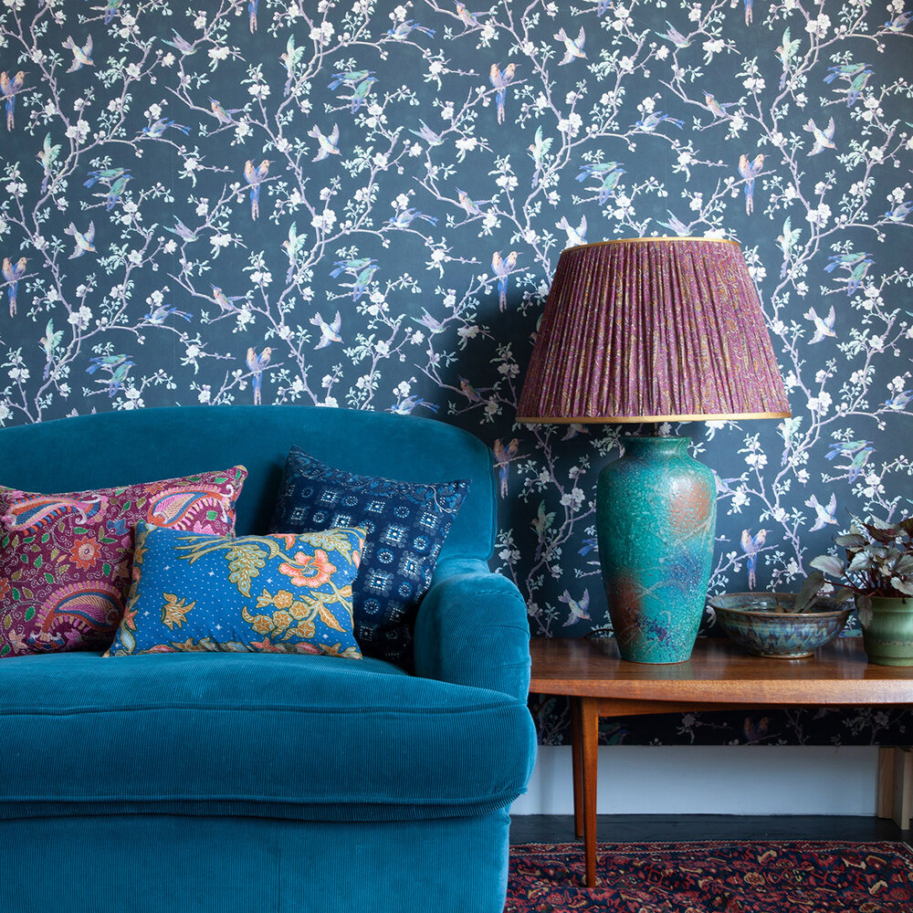 Bird and Blossom Wallpaper - Charcoal / Purple / Burnt Orange - by Hamilton Weston Wallpapers