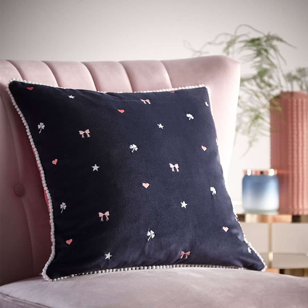 Kissing Hearts Cushion - Navy - by Oasis