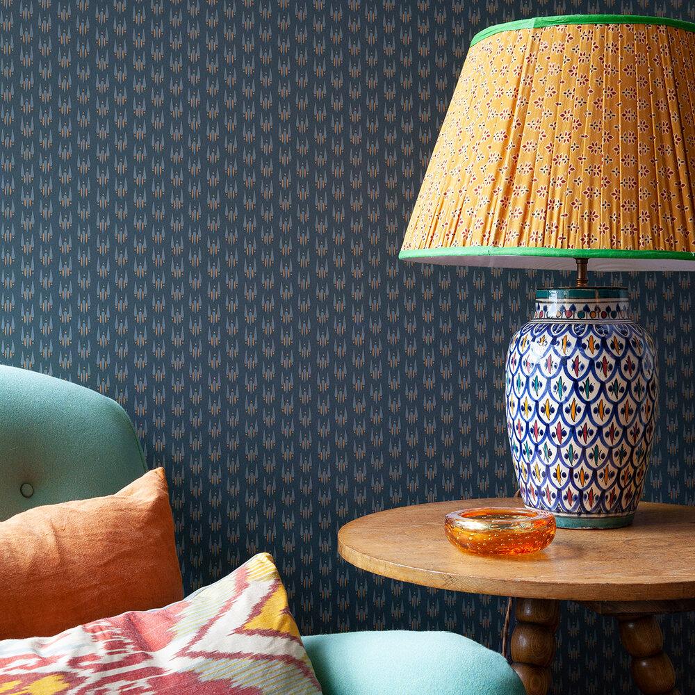 Strand Teardrop Wallpaper - Dark Blue / Grey / Orange - by Hamilton Weston Wallpapers