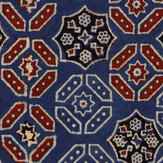 Mind the Gap Ajrak Blue / Red / White  Mural - Product code: WP20412