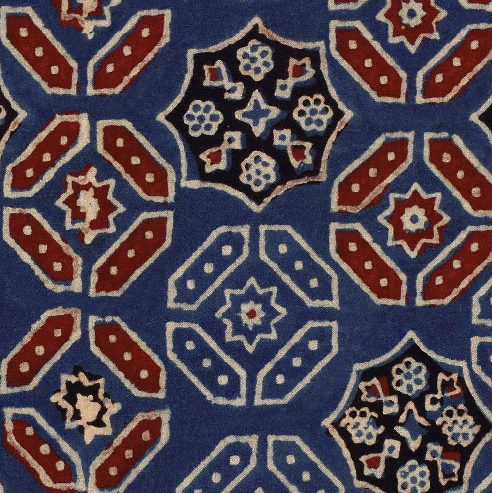 Ajrak Mural - Blue / Red / White  - by Mind the Gap