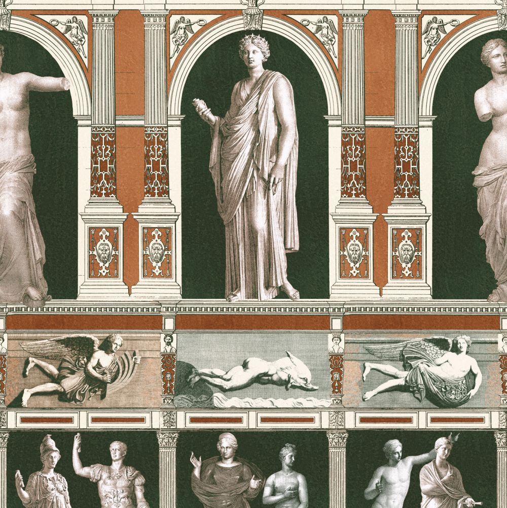 Mind the Gap Statues Antique Khaki / Black / Orange Mural - Product code: WP20422