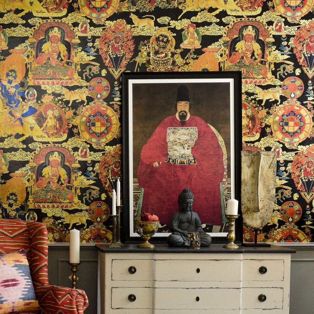 Tibetan Tapestry Metallic Edition Mural - Red / Gold / Black - by Mind the Gap