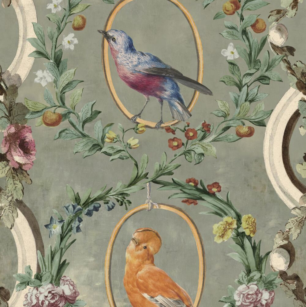 Countesses Aviarium  Mural - Green / Brown / Taupe - by Mind the Gap