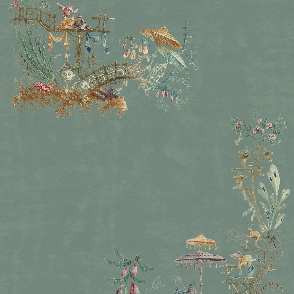 Mind the Gap Chinoserie Blue / Brown / Green / Taupe  Mural - Product code: WP20437