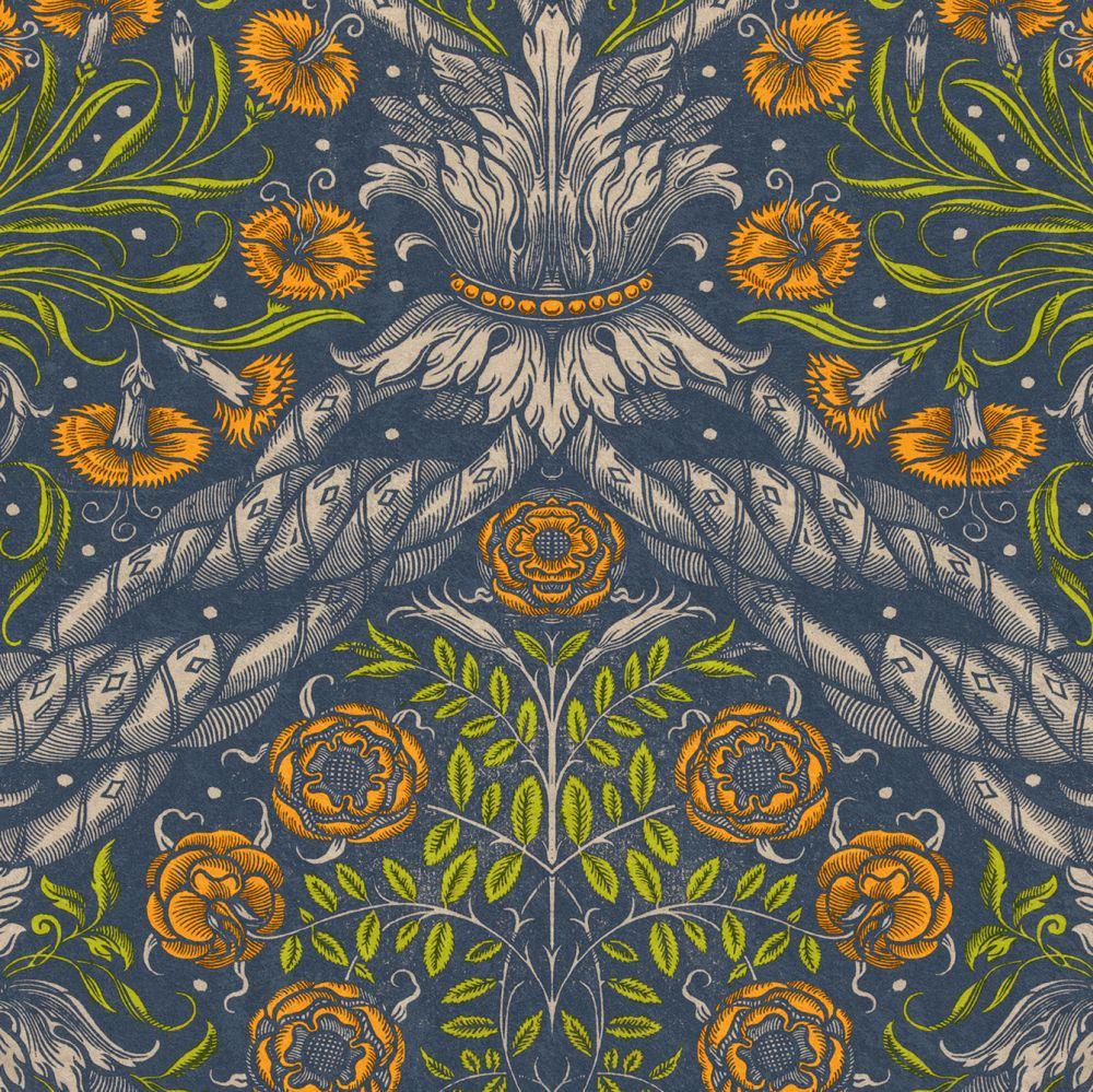 Mind the Gap Floral Ornament Blue / Green / Orange Mural - Product code: WP20453
