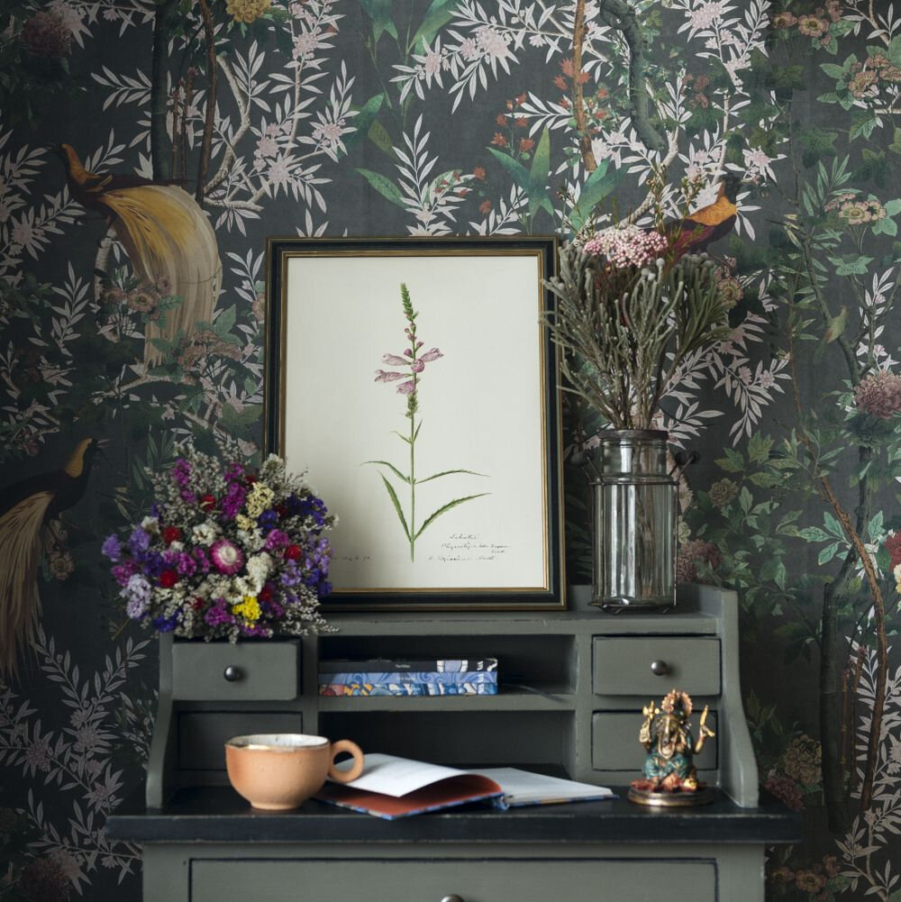 Royal Garden Mural - Green / Pink / Grey / Red - by Mind the Gap