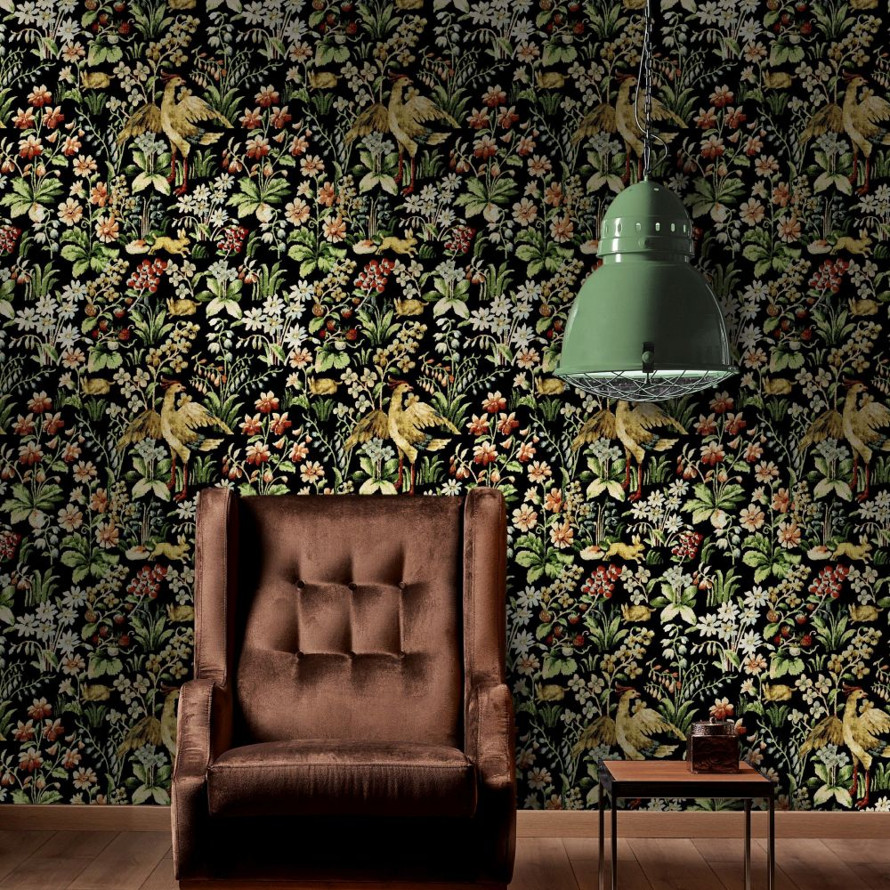 Floral Tapestry Mural - Black - by Mind the Gap