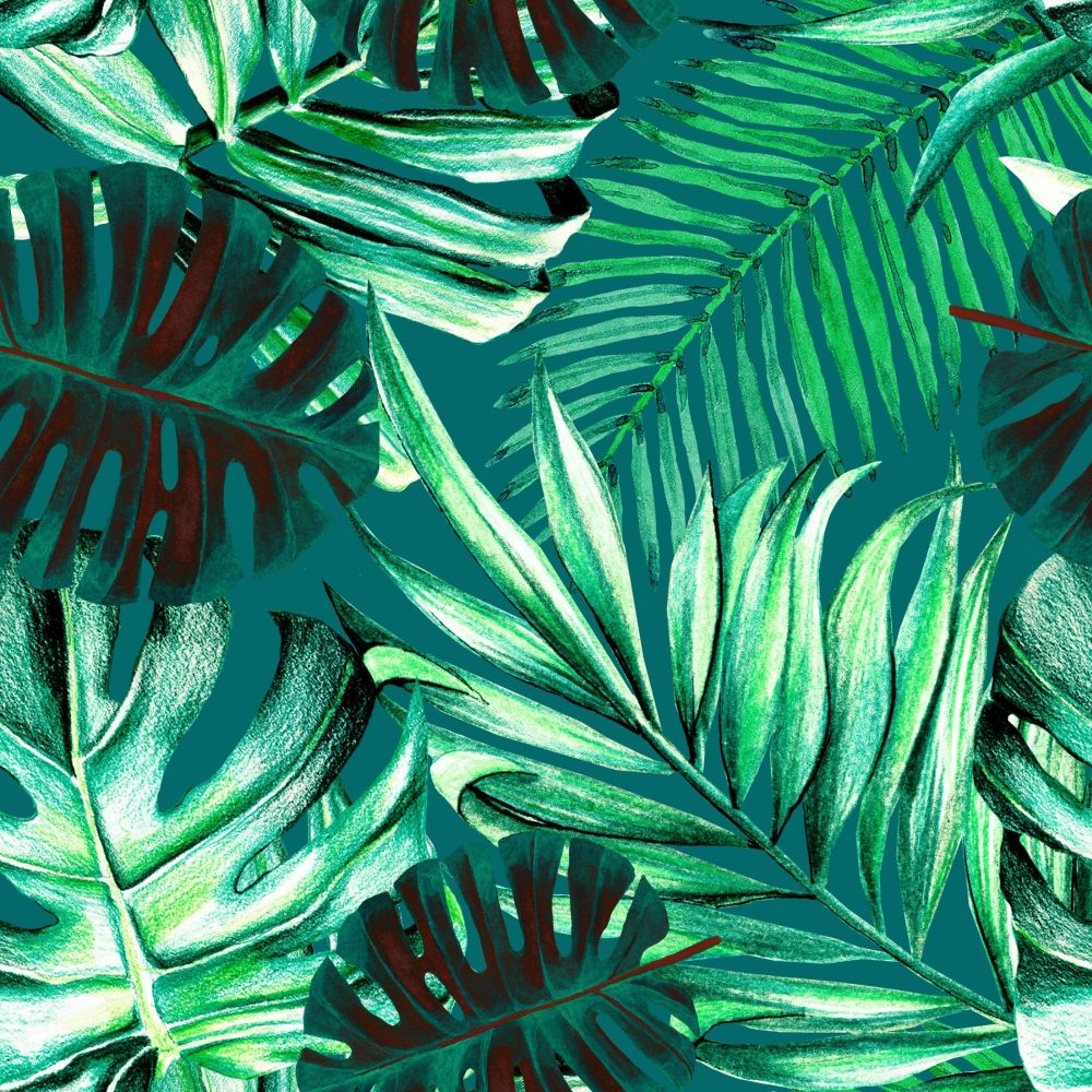 Rainforest Mural - Teal - by Mind the Gap