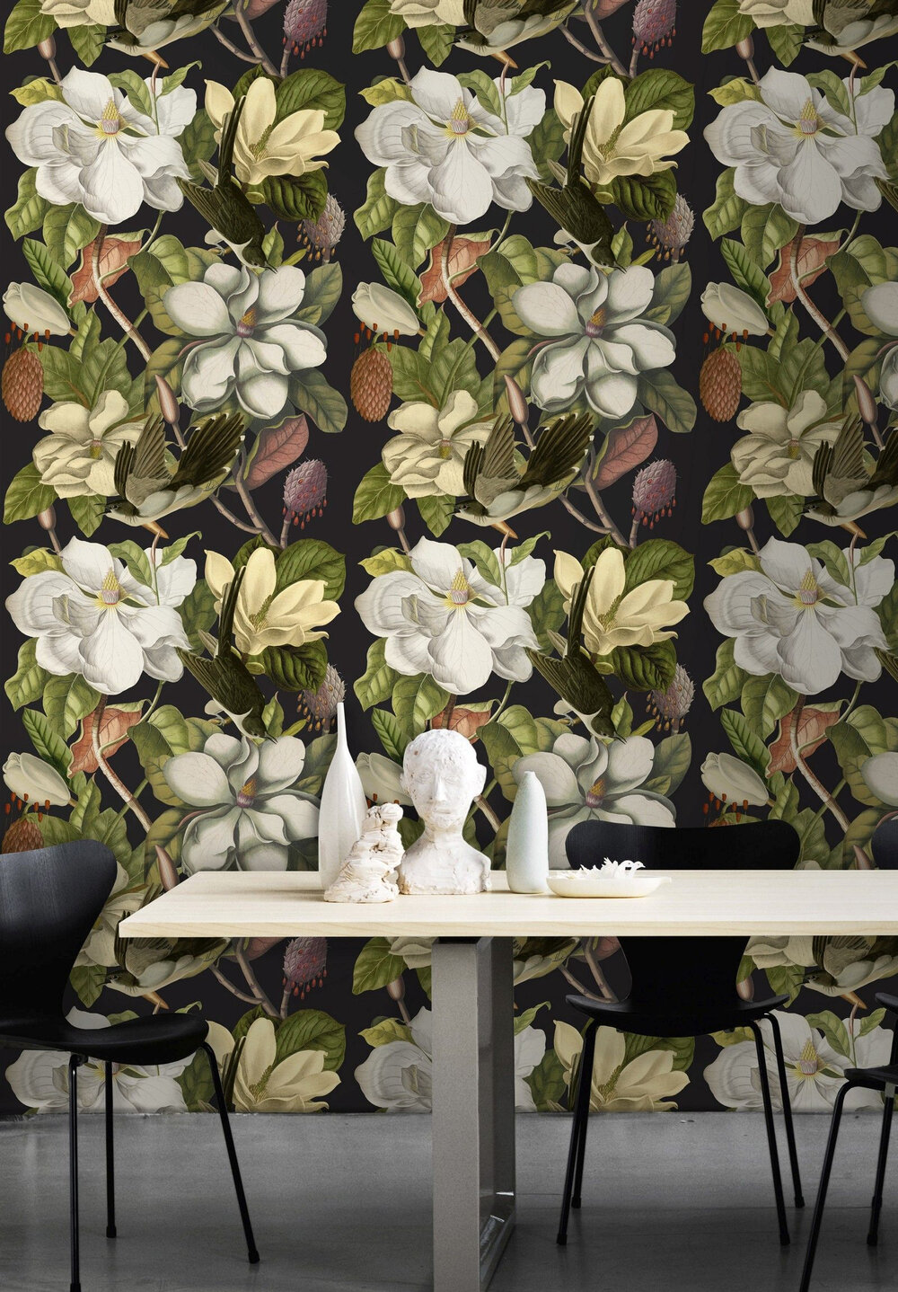 Magnolia Mural - Black / Green - by Mind the Gap