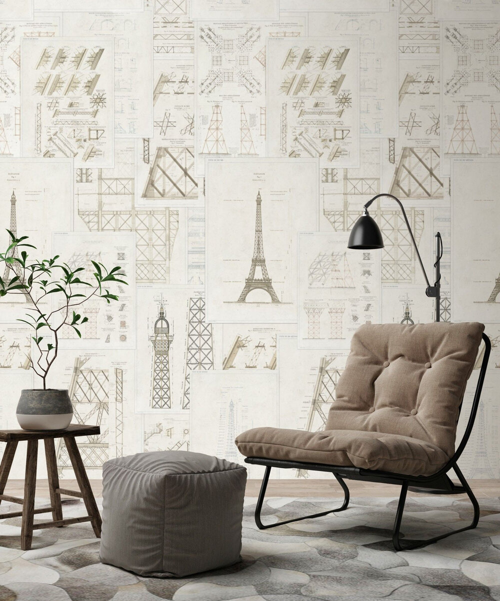 Grand Eiffel Mural - Cream - by Mind the Gap