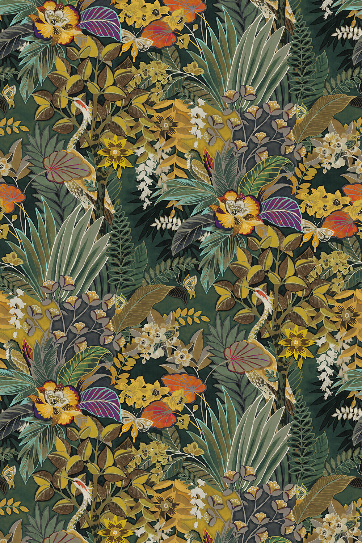 Hidden Paradise Fabric - Emerald - by Prestigious