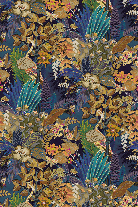 Hidden Paradise Fabric - Midnight - by Prestigious