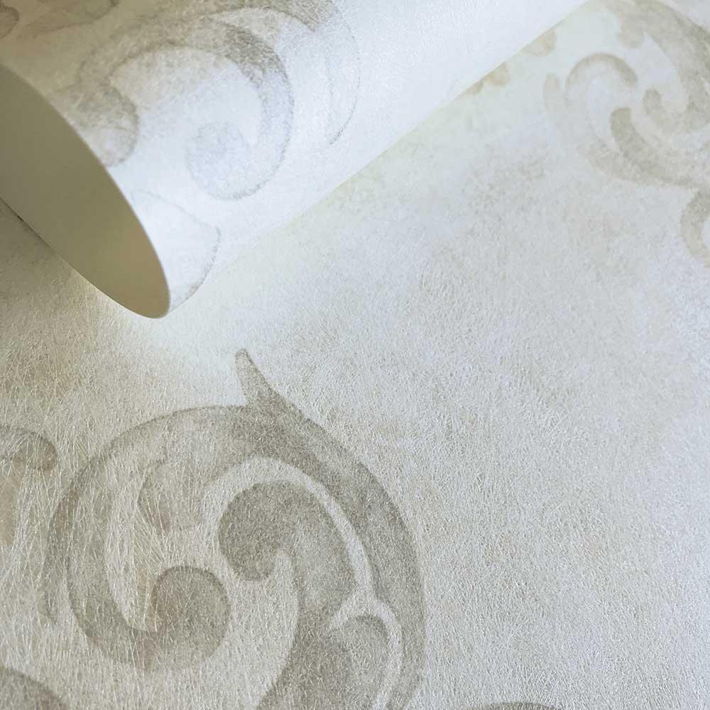 Devore Damask Wallpaper - White - by Fardis