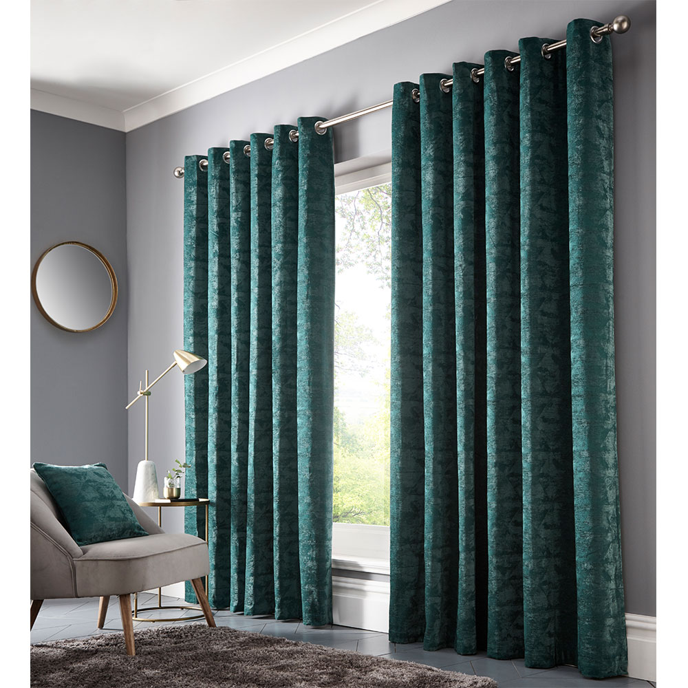 Topia Eyelet Curtain Ready Made Curtains - Emerald - by Studio G