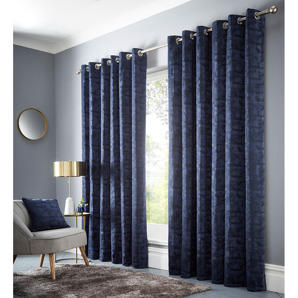 Topia Eyelet Curtain Ready Made Curtains - Ink - by Studio G