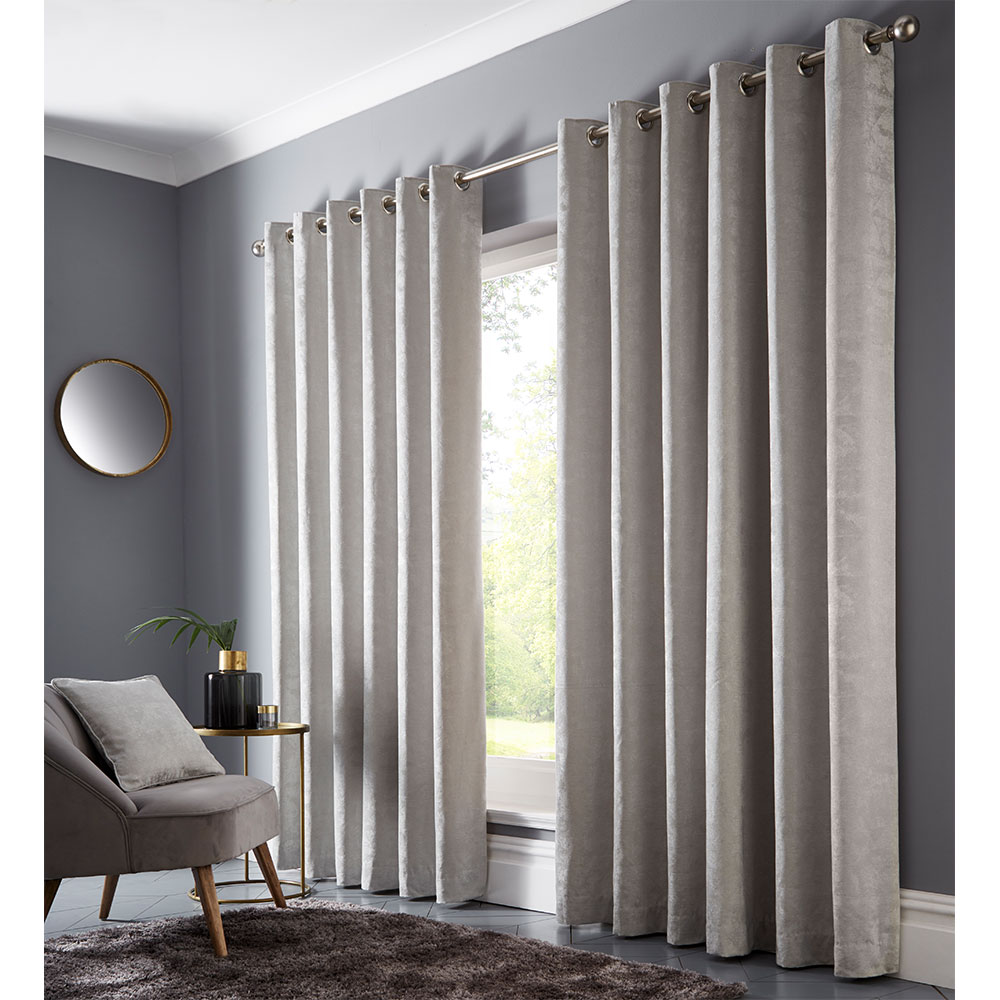 Topia Eyelet Curtain Ready Made Curtains - Silver - by Studio G
