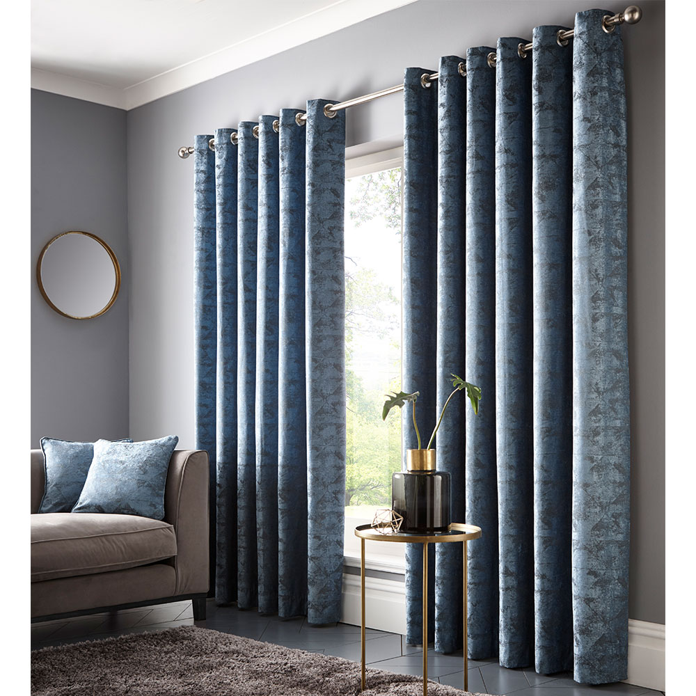 Topia Eyelet Curtain Ready Made Curtains - Teal - by Studio G