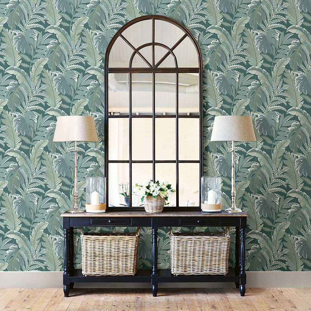 Albany Tropical Leaf Green Wallpaper - Product code: FD25757