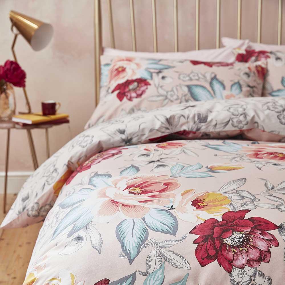 Isla Floral Duvet Set Duvet Cover - Blush - by Accessorize