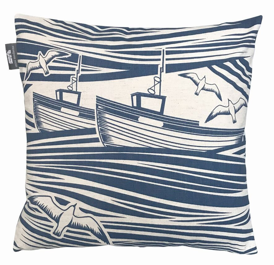 Whitby Cushion - Washed Denim - by Mini Moderns