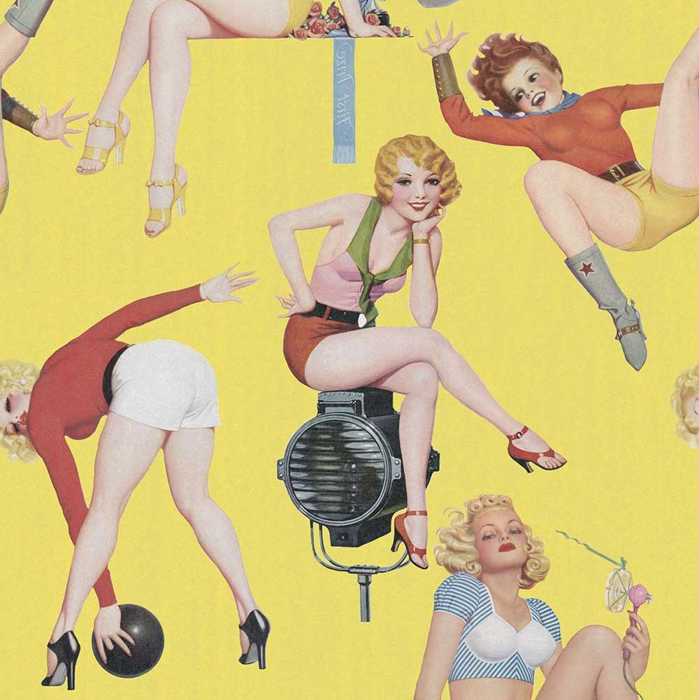 Pin-Up Girls Mural - Yellow - by Mind the Gap