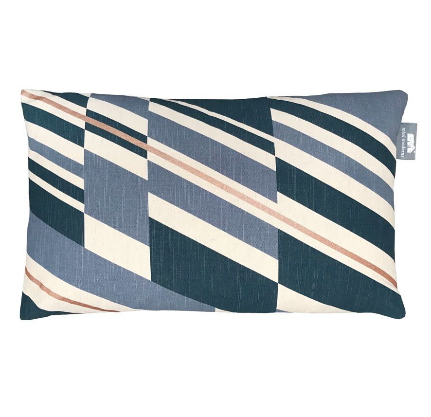 Pluto Cushion - Washed Denim and Copper - by Mini Moderns