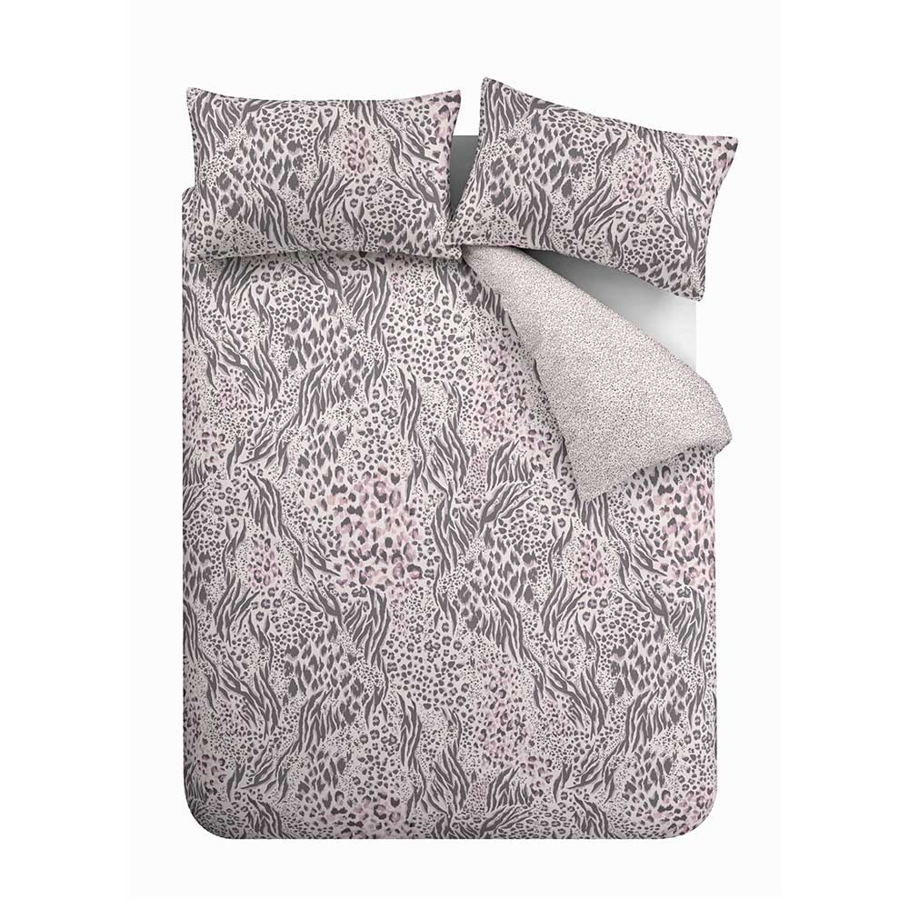 Savannah Duvet Set Duvet Cover - Grey / Pink - by Accessorize