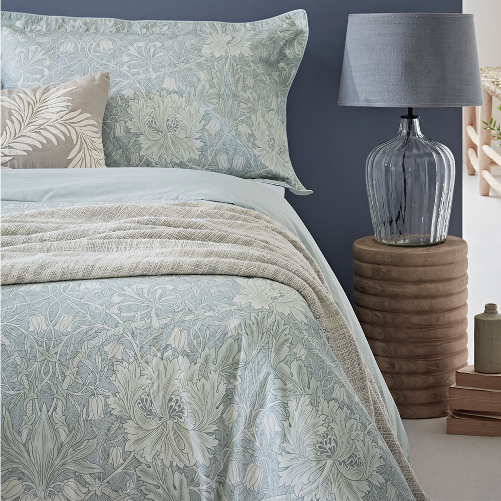 Morris Pure Honeysuckle & Tulip Duvet Cover Light Grey Blue - Product code: DUCPHTG1GRE