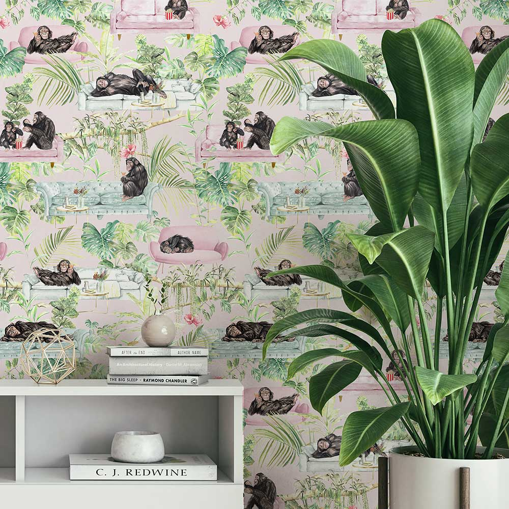 Monkey Business  Wallpaper - Pink - by Graduate Collection