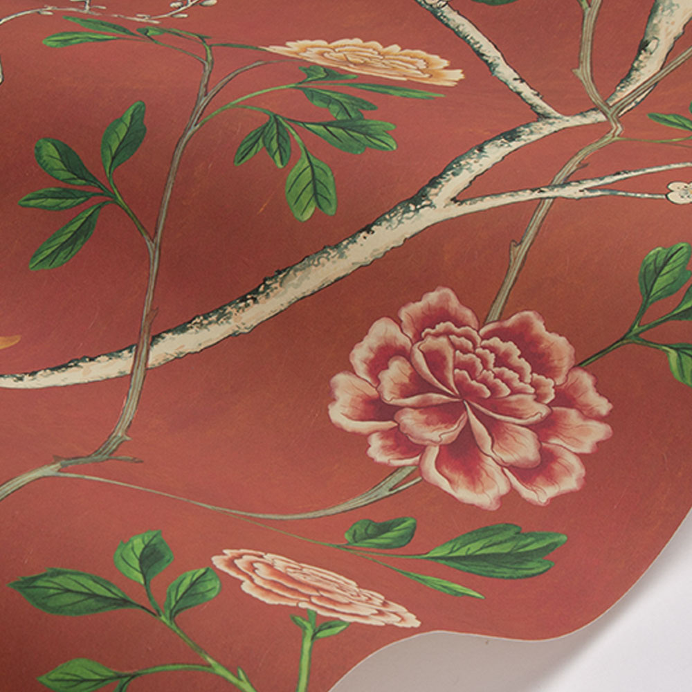 Wild Rose Chinensis Wallpaper - India Crimson - by Sand & Sushi