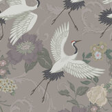 Sand & Sushi Manchurian Crane Dark Lilac Wallpaper - Product code: MCDLILAC