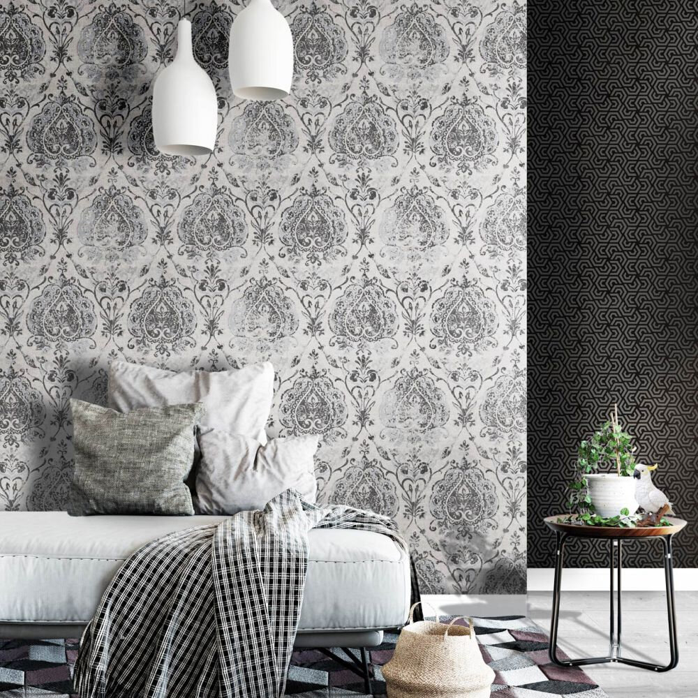 Damasco Netto Wallpaper - Black - by Galerie