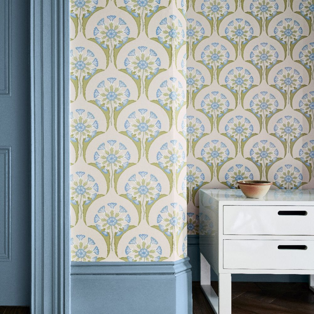 Hencroft Wallpaper - Blue Primula - by Little Greene