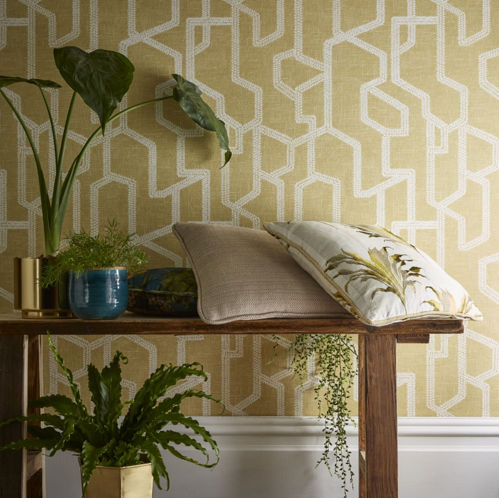 Labyrinth Wallpaper - Citron - by Clarke & Clarke