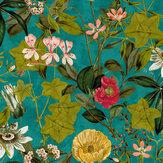 Clarke & Clarke Passiflora Kingfisher Wallpaper - Product code: W0127/01