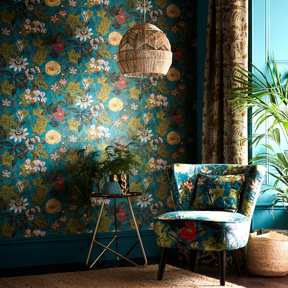 Clarke & Clarke Passiflora Kingfisher Wallpaper - Product code: W0127/01