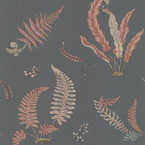 G P & J Baker Ferns Coral / Charcoal Wallpaper - Product code: BW45044/13