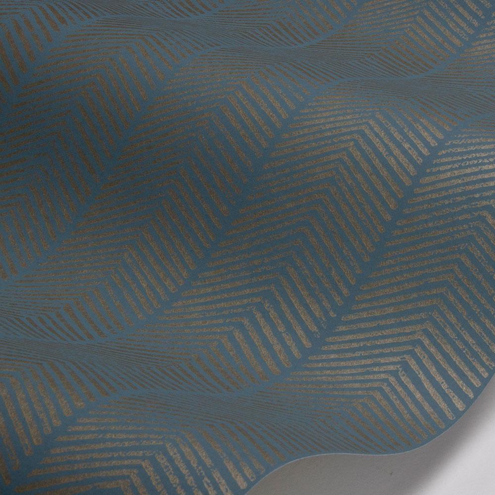 Herringbone Wallpaper - Teal - by G P & J Baker