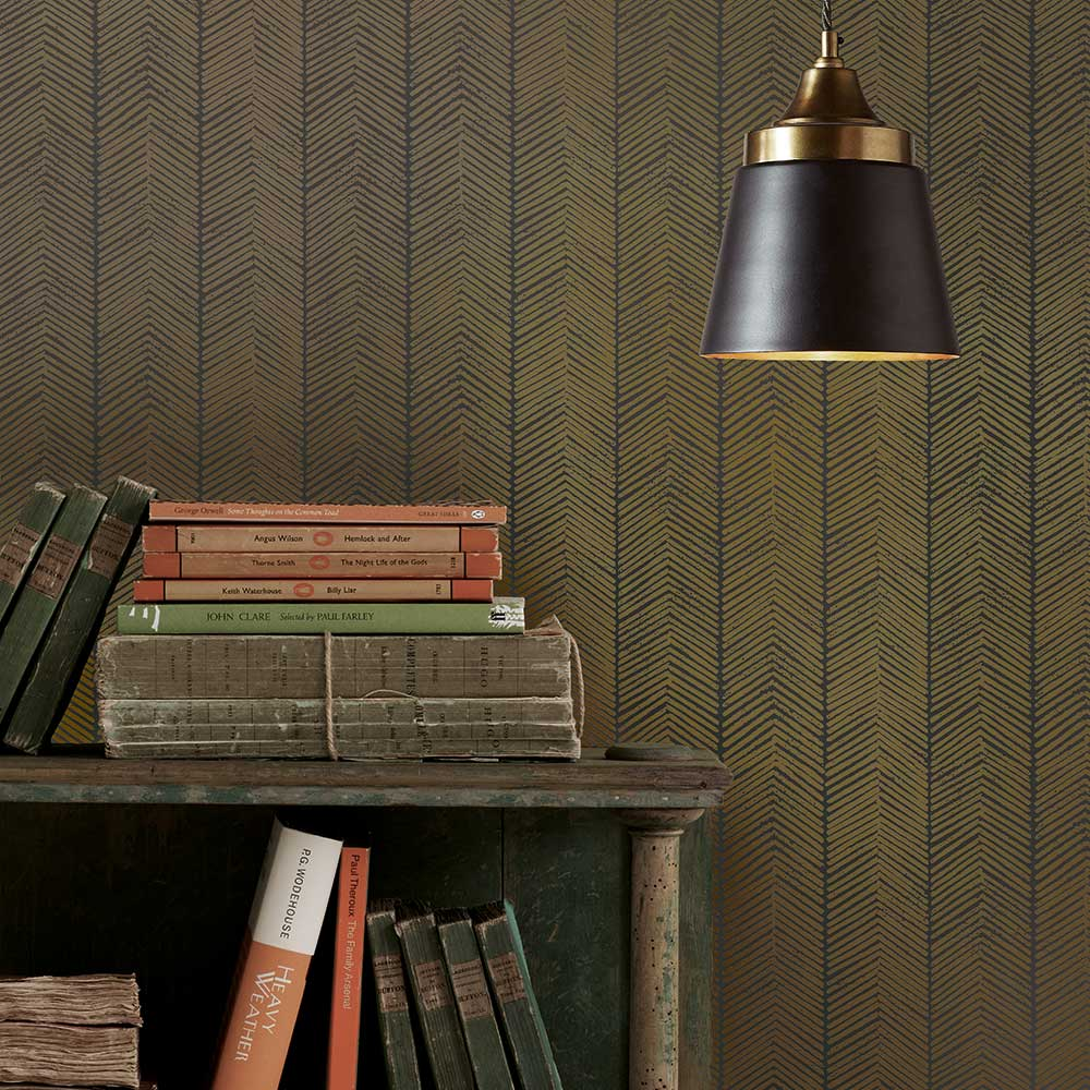 Herringbone Wallpaper - Charcoal / Bronze - by G P & J Baker