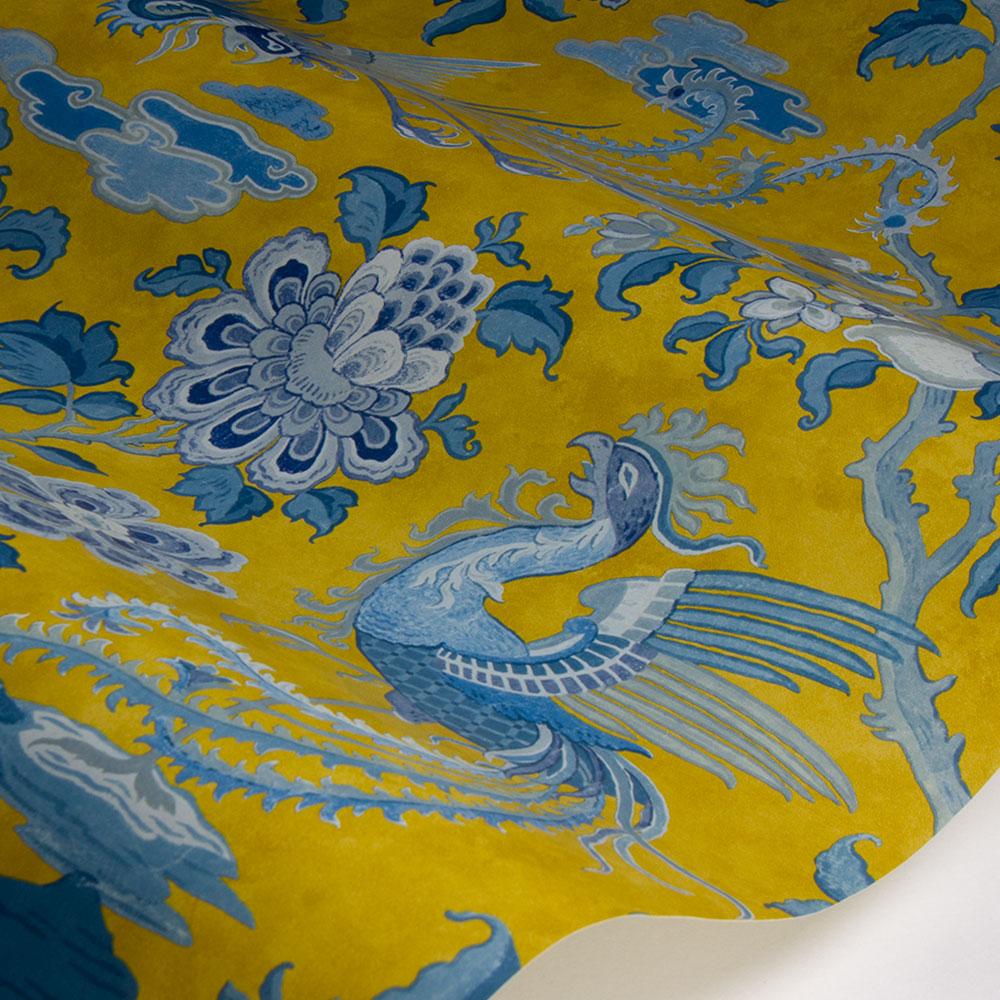Chifu Wallpaper - Teal / Ochre - by G P & J Baker