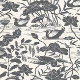 G P & J Baker Heron & Lotus Flower Black / White Wallpaper - Product code: BW45089/1