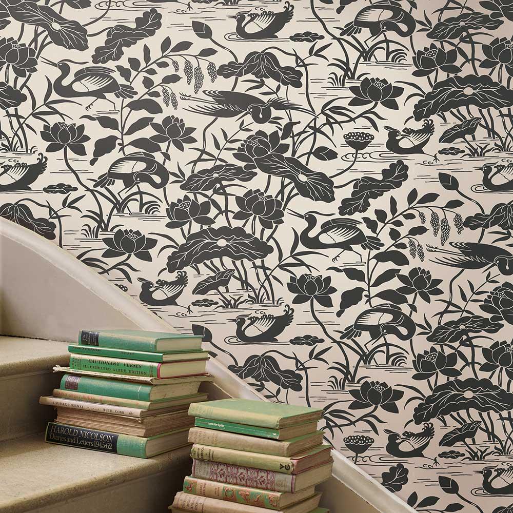 Heron & Lotus Flower Wallpaper - Black / White - by G P & J Baker