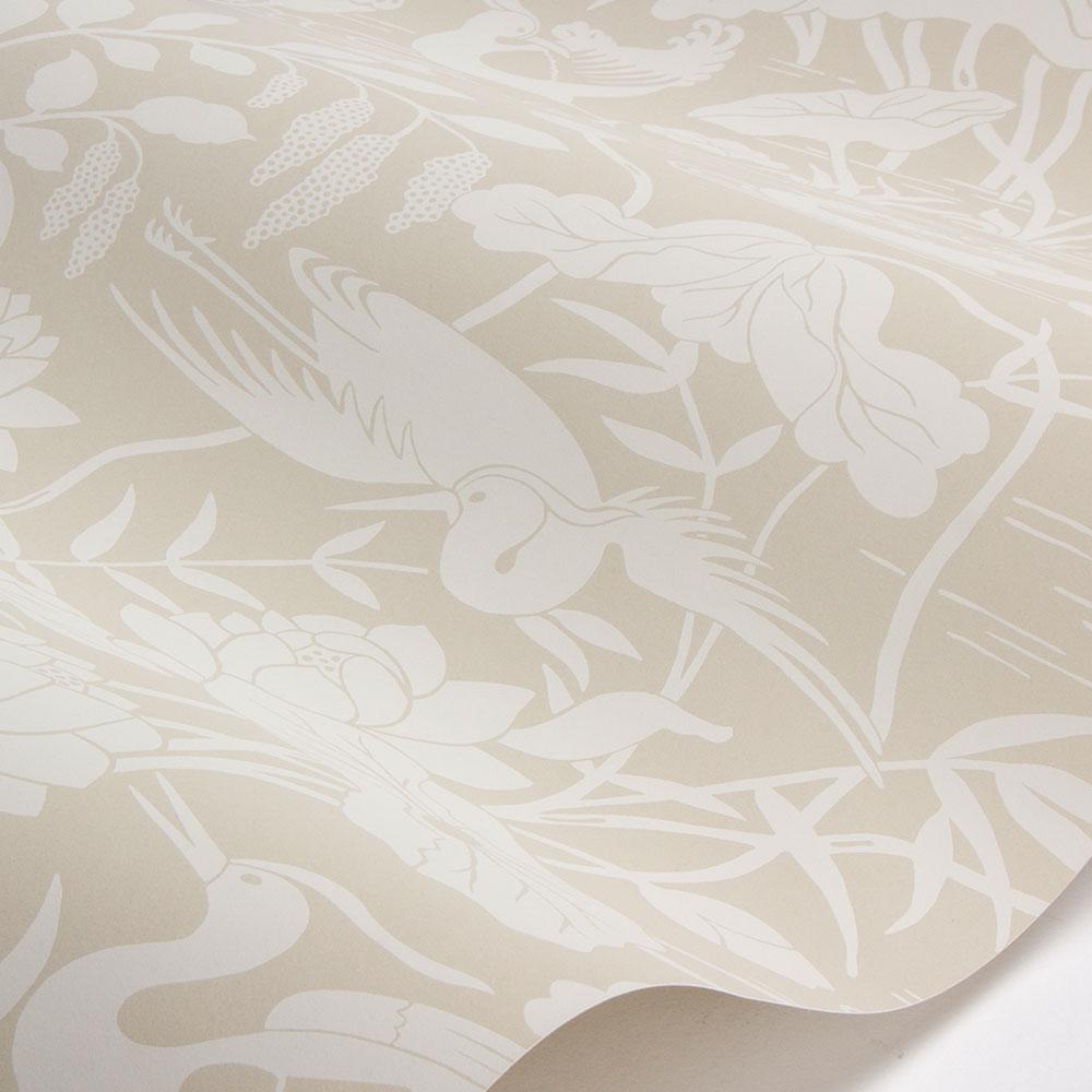 G P & J Baker Heron & Lotus Flower Stone Wallpaper - Product code: BW45089/2