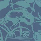G P & J Baker Heron & Lotus Flower Teal / Blue Wallpaper - Product code: BW45089/4
