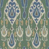 G P & J Baker Ikat Bokhara Emerald Wallpaper - Product code: BW45090/3