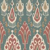 G P & J Baker Ikat Bokhara Teal Wallpaper - Product code: BW45090/4