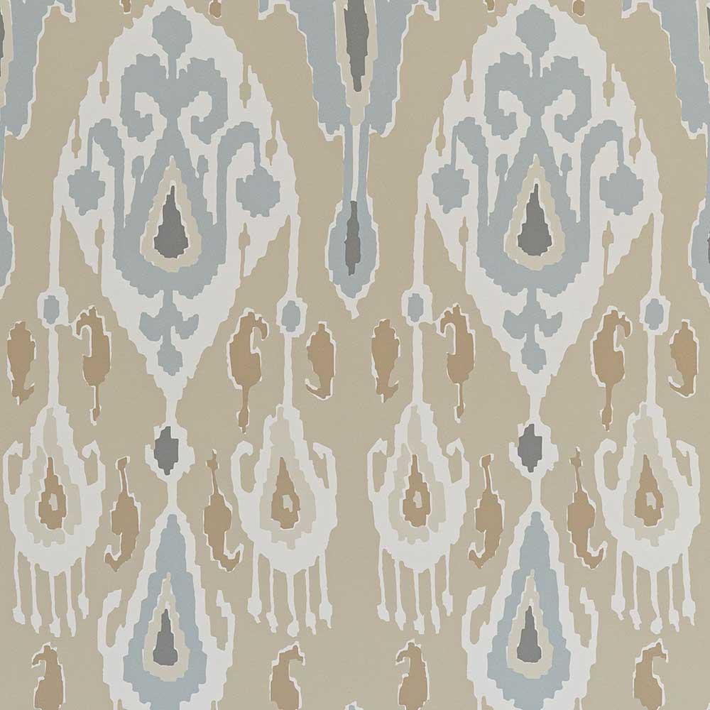 Ikat Bokhara Wallpaper - Sand - by G P & J Baker
