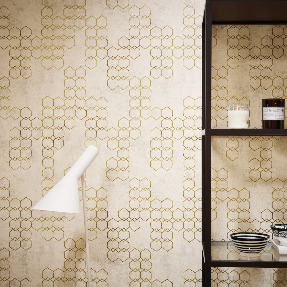 Hex Wallpaper - Beige - by New Walls